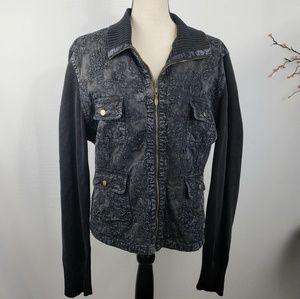 Chicos Black Denim Jacket Textured Sweater Sleeves